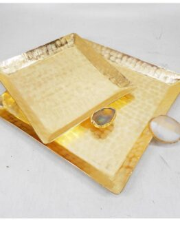 Agate Stainless Steel Squire Platter With Gold Finish