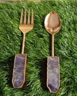 Agate Stainless Steel Salad Serving Set With Gold Finish