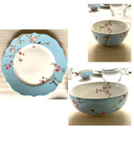 Dinner Set Blossom Blue Bird Set of 21 Pcs