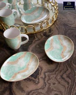 Snack Set 6 Oval Snack Plate 6 Coffee Mug