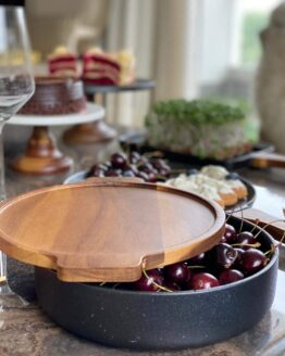 Ceramic Haute Serving Bowl with Wood Cover/Tray Stackable