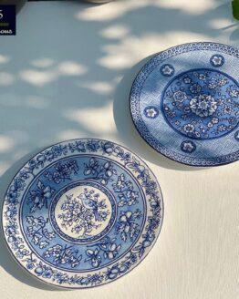 Blue Snack Plates Set of 6Pcs