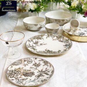 Adelaide Gold 21Pcs Dinner Set 6 Dinner Plate 26.5cm 6 Quarter Plate 22cm 6 Small Bowl 10cm 1 Serving Bowl 20cm 2 Serving Bo