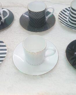 Fiorivita Espresso Cup & Saucer  Set of 6 Pcs