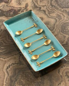 COFFEE SPOON GOLD BUTTERFLY SET OF 6 W/GIFT BOX